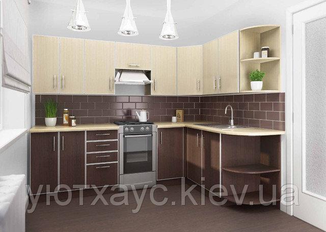 Угловая кухня под заказ изготовление по индивидуалному проекту с контрасными мдф-фасадами