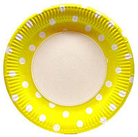 """Тарелки универсальные праздничные большие картонные """" Горох желтый""""  22 см."""