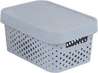 Серая перфорированная коробка с крышкой на 4.5 л INFINITY Curver 229117