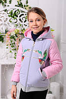 Куртка для девочки демисезонная короткая серая с птицами