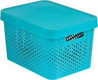 Синяя перфорированная коробка с крышкой на 17 л INFINITY Curver 229119