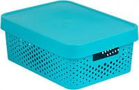 Синяя перфорированная коробка с крышкой на 11 л INFINITY Curver 229166
