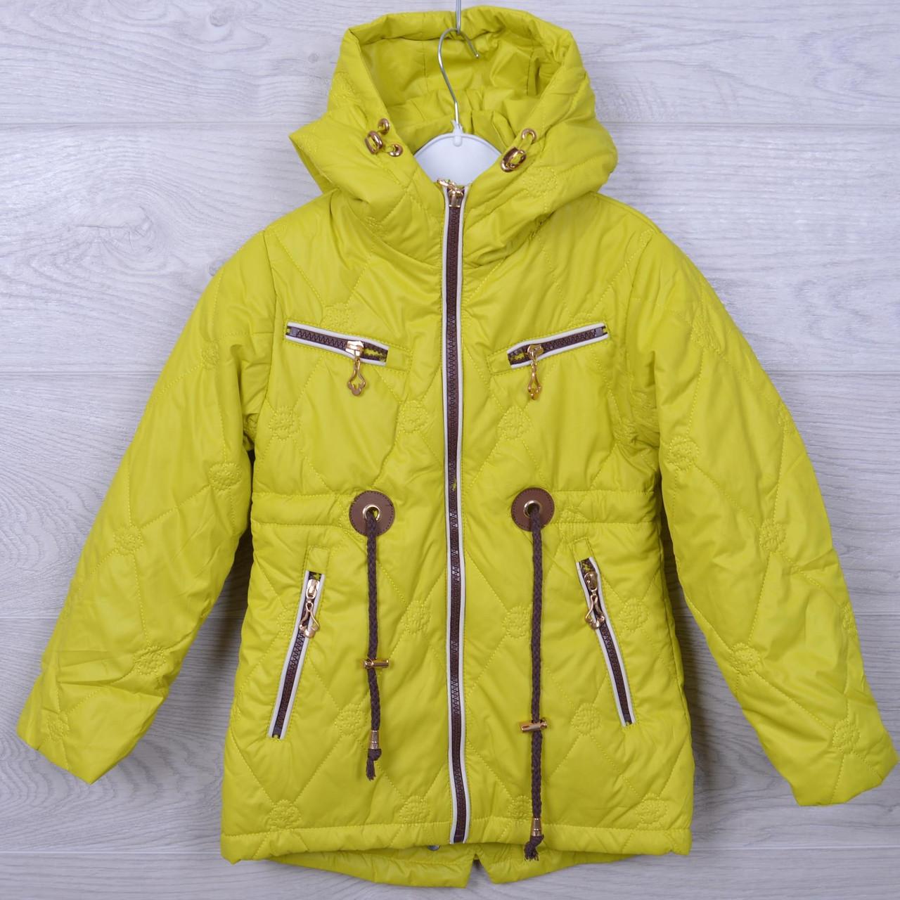 Куртка подростковая демисезонная Кузя#66-302 для девочек. 110-134 см. Лайма. Оптом.
