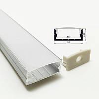 Прямой двухрядный профиль для светодиодной ленты YF115 (2м) с рассеивателем, анодированный
