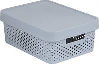 Серая перфорированная коробка с крышкой на 11 л INFINITY Curver 229163