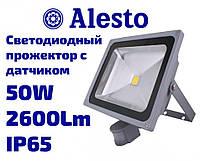 Светодиодный LED прожектор с датчиком движения и света 50W 230V-AC IP65, Лед прожектор с датчиком 50 Вт ALESTO