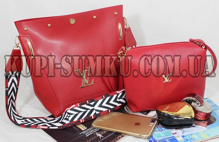 b8192201855b Красная модная сумка+клатч (комплект) с ярким ремнем - Интернет-магазин