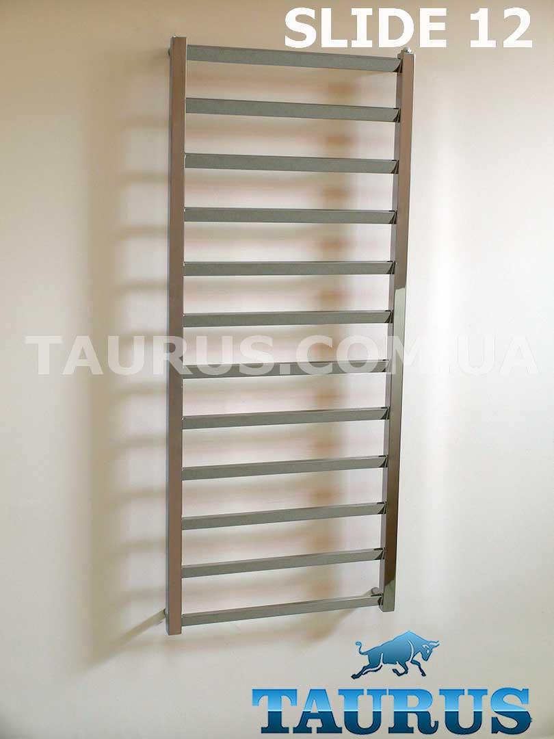 Высокий полотенцесушитель Slide 12 /500 из квадратной и плоской трубы. С перемычкой под углом до 30 градусов
