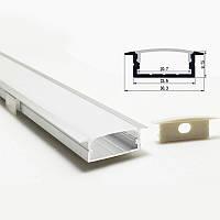 Врезной двухрядный профиль для светодиодной ленты YF115 (2м) с рассеивателем, анодированный