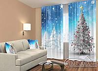 """Новогодние Фото Шторы """"Новогодняя елка на снегу"""" 2,5м*2,60м (2 полотна по 1,30м),тесьма"""