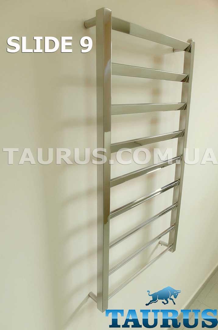 Дизайнерский полотенцесушитель с плоскими перемычками, размещенными под углом до 30 градусов - Slide 9/500 мм