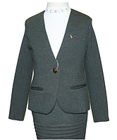 Пиджак трикотажный школьный для девочки,темно-серый