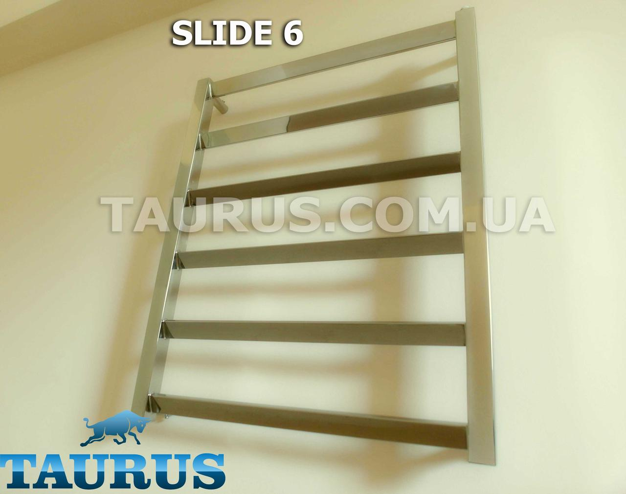 Небольшой комбинированный полотенцесушитель Slide 6/450мм. из н/ж стали - специальные перекладины под углом 30