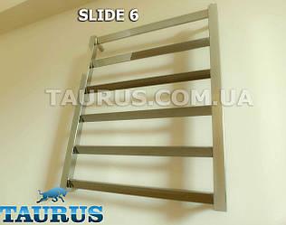 Невеликий комбінований полотенцесушитель Slide 6/450мм. з н/ж сталі - спеціальні поперечини під кутом 30