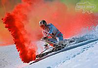 Цветная дымовая шашка красная (найнасиченіший(дим13)), димова шашка, цветной дым, жовтий, 60 сек.