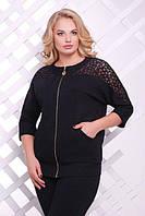 Женская кофта с гипюровыми вставками на рукавах черного цвета