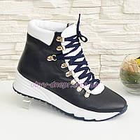 Женские кожаные зимние ботинки на шнуровке, цвет синий/белый.
