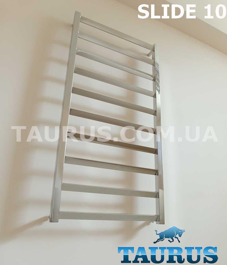 Уникальный дизайнерский полотенцесушитель Slide 10/450 с перемычкой установленной под углом до 30 градусов