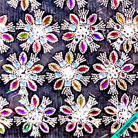 Дизайны из страз на силиконе, декор для одежды Цветок (24 шт. на листе)