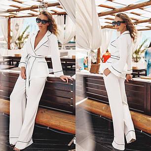 Костюм в пижамном стиле с брюками. Цвета - молочный, пудра, чёрный., фото 2