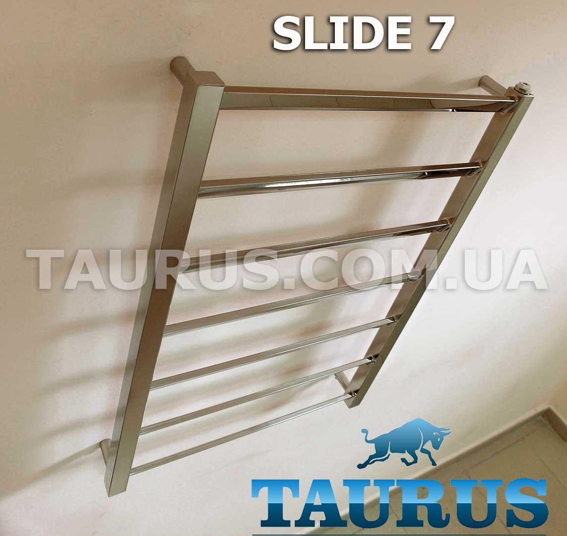 Узкий комбинированный полотенцесушитель Slide 7/400 мм из профильной нержавеющей стали. Перемычка под углом 30