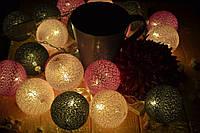 """Хлопковая гирлянда (гирлянда из хлопковых шариков): """"Нежные ночи"""", фото 1"""
