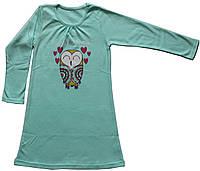 Ночнушка с длинным рукавом для девочки, салатовая, рост 104 см, 110 см, Фламинго