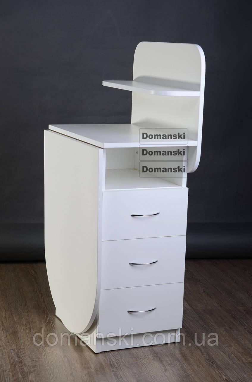 Маникюрный стол с ящиками и полкой для лаков.