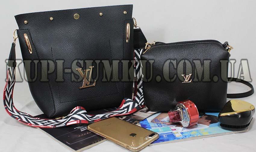 89ac76e29f18 Стильная черная сумка+клатч из экокожи с цветным ремнем - Интернет-магазин