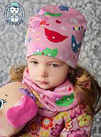 Комплект шапка и хомут весна-осень для девочки кошечки розовые