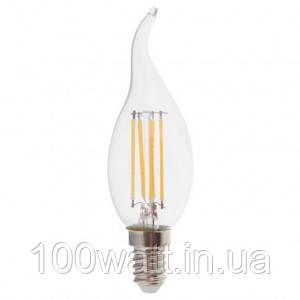 Лампа светодиодная LED E14 6500K 6W свеча на ветру прозрачная ST 692