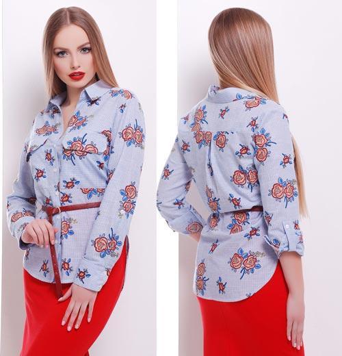 8bae8e34824 Голубая блузка с розами на каждый день - СТИЛЬНАЯ ДЕВУШКА интернет магазин  модной женской одежды в