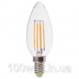 Лампа світлодіодна LED E14 3000K 6W свічка прозора тепла ST 691-1
