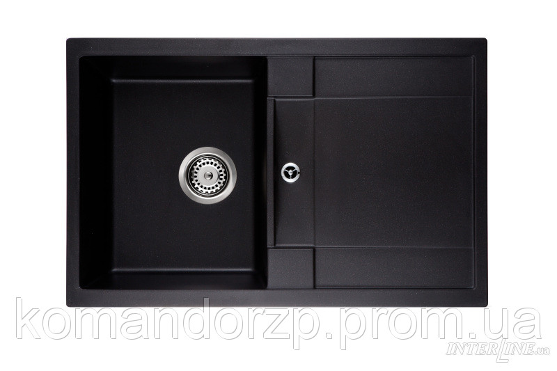 Кухонная каменная мойка LOTUS black