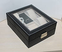 Шкатулка для часов и украшений J289 черная, тиснение под крокодила