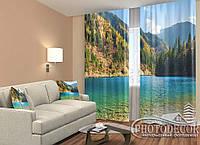"""ФотоШторы """"Озеро в лесу"""" 2,5м*2,6м (2 полотна по 1,30м), тесьма"""