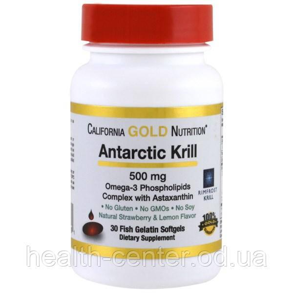 Масло криля антарктического 500 мг 30 капс для сердца, сосудов зрения памяти California GoldNutrition