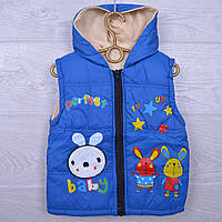 Детская демисезонная жилетка Зайчики #18/2 для девочек. 3-5 лет. Синяя. Оптом., фото 1