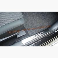 Накладки на пороги 4шт Carmos на Mitsubishi Lancer 10 2007-2016