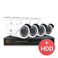 Комплект видеонаблюдения Partizan IP 4x2MP OUT PRO + HDD
