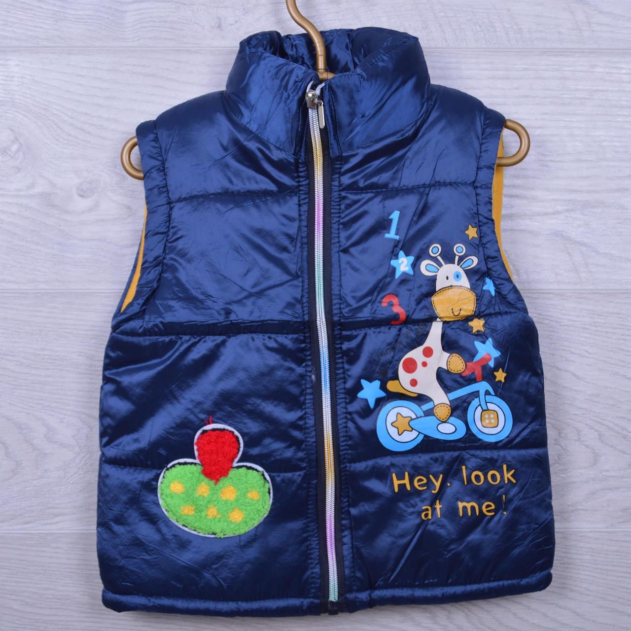 Детская демисезонная жилетка Коровка #S1752 для девочек. 3-5 лет. Темный электрик. Оптом.