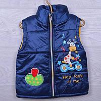 Детская демисезонная жилетка Коровка #S1752 для девочек. 3-5 лет. Темный электрик. Оптом., фото 1