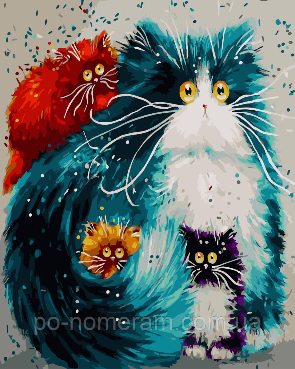 Картина раскраска по номерам без коробки Мама кошка (BK ...
