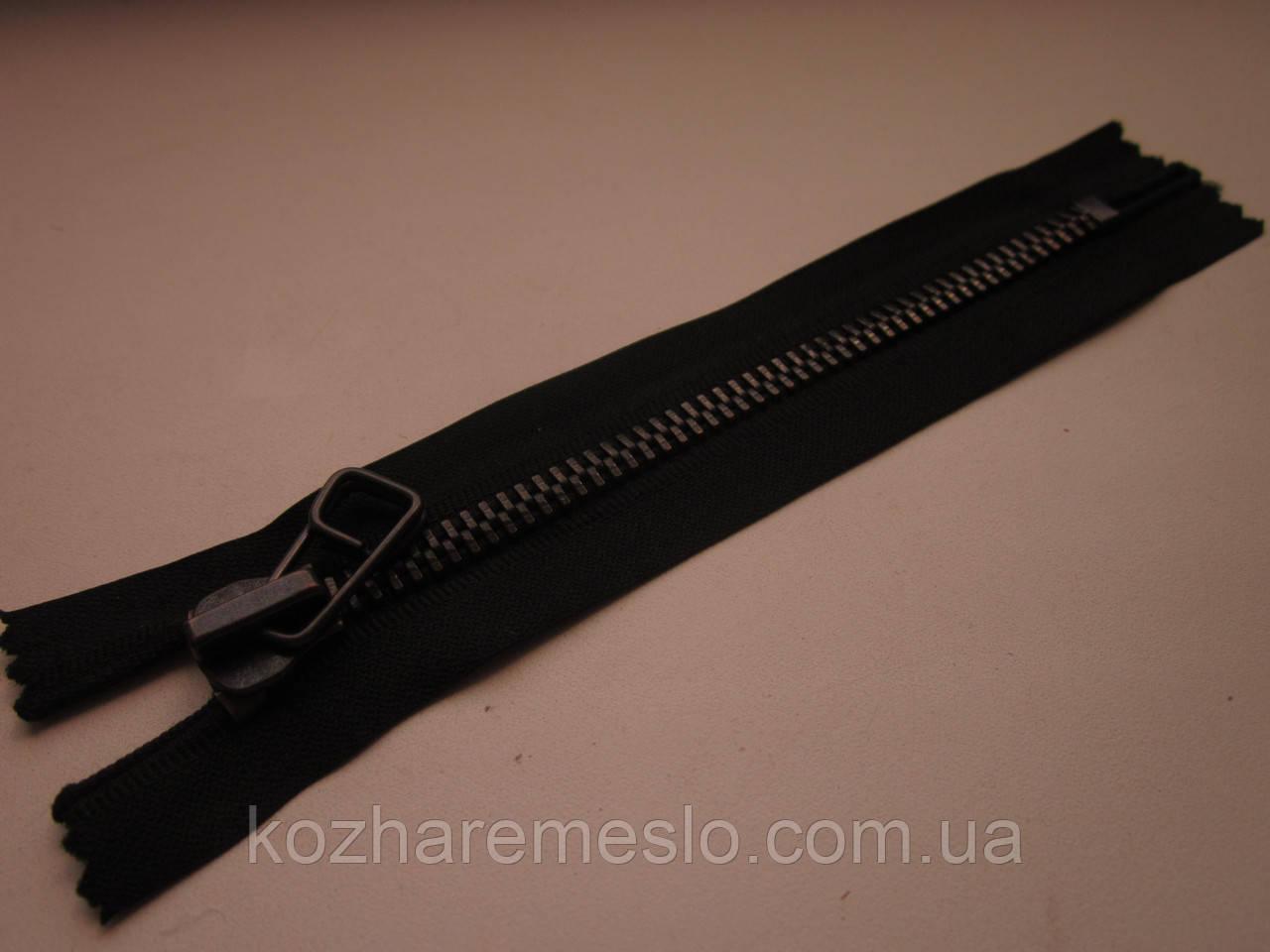 Молния металлическая Т-8 16 см чёрная (оксид)