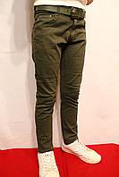 НОВИНКА! Весенние котоновые брюки темно-зеленого цвета для детей от 8-16лет(122-170см)Niebieski