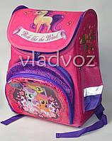 Школьный каркасный рюкзак для девочек Pony малиновый