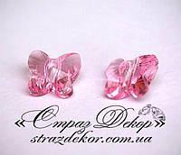 Хрустальная подвеска Бабочка 15мм Lt. Rose (светло-розовая), фото 1