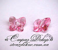 Хрустальная подвеска Бабочка 15мм Lt. Rose (светло-розовая)