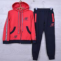"""Спортивный костюм подростковый """"NB"""" для девочек. 7-12 лет.Темно-синий+красный. Оптом"""