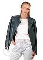 Зеленая кожаная куртка косуха, фото 1